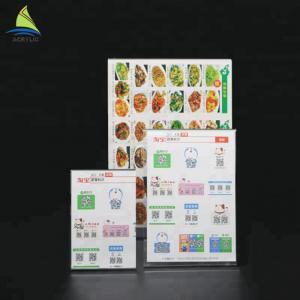 Cheap Customized Clear Acrylic Slanted Design menu holder acrylic Sign for sale