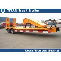 Cheap SKD type low bed trailer truck with 2 axles , gooseneck lowboy trailers for sale