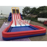 Cheap Four Lanes Giant Inflatable Slide / PVC Water Slide With Big Pool For Adults for sale