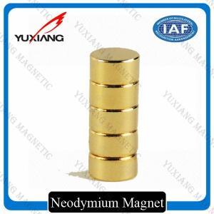 Cheap Gold Plating Neodymium Cylinder Magnets , Neodymium Magnets N52 Radial Magnetized for sale