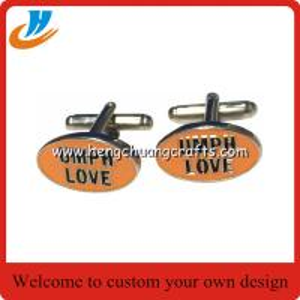 Cheap Custom metal cuff links/tie clip cufflinks with customer cufflink design for sale