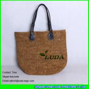 Cheap high quality crochet straw totes natural raffia beach bag for sale