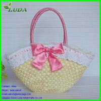 Cheap Lace/bowknot trmming handmade corn husk shoulder bag for sale