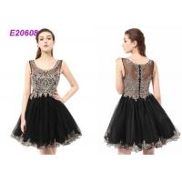 Cheap Boat Neck Tulle Beading Ladies Cocktail Dresses For Wedding Party Black And Champange for sale