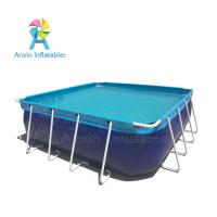 outdoor durable blue Portable  Above ground rectangular steel metal frame swimming pool for water park