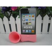 Cheap For iphone 4s trumpets  ,silicone stand horn speaker, amplifiers musical gifts enlarge 13dB volume without battery for sale