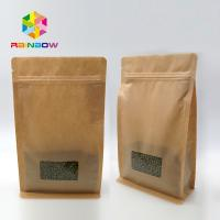 Cheap Window Kraft Paper Bags Zipper Top Sealing Customized Color For Food Packaging for sale