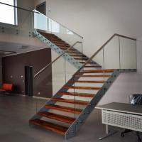 Buy cheap Double Beam Straight Staircase Design With Glass Railing and Wood Tread from wholesalers
