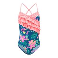 Buy cheap Floral Prints Pink Ruffles Little Girl Swimsuits , Spaghetti Strap Swimsuit Summer Design from wholesalers