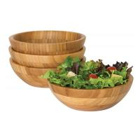 4 Piece Bamboo Salad Set  7 X 2.25 More Endurable Than Porcelain Products