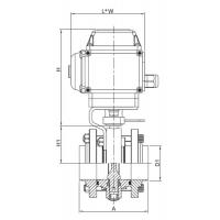Dimension of Electric Actuated Flanged(three-piece) Butterfly Valve -DIN Series