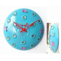 Cheap Hot Sell for 13 Inch Blue Flower Embossing Round Metal Quartz Wall Clock for Home Decoration for sale