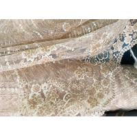 Cheap Champagne Gorgeous Flowers Sequin Lace Fabric With Dot Scalloped For Party Gown for sale