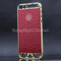 China Crocodile Pattern Red Leather Skin 3 Lines White Diamond Stone With Gold Logo Back Cover Replacement For iPhone 5-Gold on sale