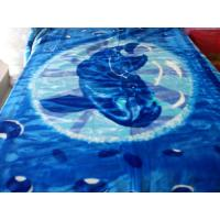 Antistatic Blue Soft Mink Blanket Adults With Cartoon , 85% Acrylic 10% Polyester