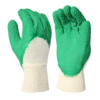 Cheap L4001 White Cotton Interlock Liner, with Green Latex 3/4 Dipped, Waved Finished, Knit Wrist for sale