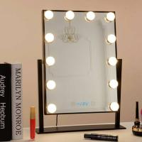 Cheap Desk Square Vanity Makeup Mirror With Light Bulbs, Portable Light Up Mirror for sale