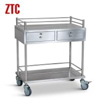 Medical stainless steel instrument cart with drawers,drug moving hand trolley on wheels