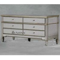 Cheap US Style Mirrored Drawer Chest , Gold Trimming Mirrored Glass Chest Of Drawers for sale