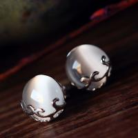 China Sterling Silver White Moon Stone Stud Earrings Vintage Thai Silver Jewelry (E11065) on sale