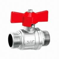 China Double Male Threads Brass Ball Valve  on sale