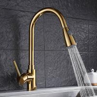 Cheap Gold long neck extendable pull out brass kitchen basin faucet  For Hotel Use for sale