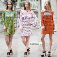 Cheap sexy printed flower short dress for women in long flounce sleeve with off the shoulder for sale