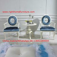 Cheap Leisure fabric with white painting solid wood chair in Neoclassical design and cocktail end table for sale