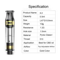 Cheap CBD tank K2 cartridge 0.5ml tank capacity adjustable airflow ceramic coil pyrex glass and metal material gold color for sale