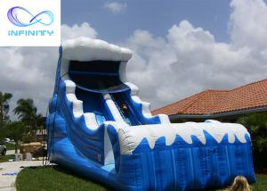 Cheap Commercial 6.5 Meters High Blue Wavy Inflatable Water Slide For Outdoor Summer Fun for sale