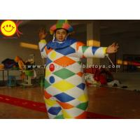 Cheap Nylon Multicolor Inflatable Clown Costume With Hat Suitable For 1.8 Meters Man for sale