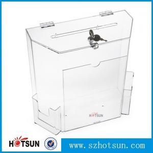 Cheap wholesale acrylic donation/ suggestion/ money box for sale