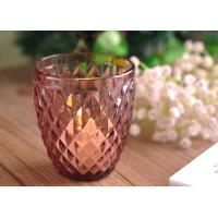 Cheap Beautiful Colored Glass Votive Candle Holders With Diamond Embossed Pattern for sale