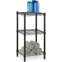 Cheap Office Commercial Wire Shelving Towel Toiletries Carbon Steel Black Epoxy Storage Table for sale