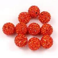 China Exquisite 30mm orange color Rhinestone Clay Pave Crystal / Glass Ball beads for decoration on sale
