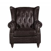 Retro Distressed Leather Winged Armchair , High Back Upholstered Chairs With Arms