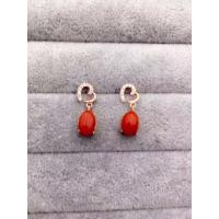 China Handmade Heart Shape 925 Sterling Silver Earrings With Red Corallite Charms on sale
