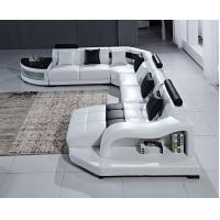 China Modular White Color U Shape Leather Wooden Sofa For Living Room on sale