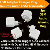Cheap Mini AC Adapter Charger US/EU Plug Hidden Spy GSM SIM Remote Audio Transmitter Listening Ear Bug W/ 5V USB Output wholesale