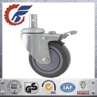 Cheap ANK grey PU wheel caster with total lock brake swivel stem caster in home care bed for sale