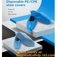Cheap Safety Products Equipment Indoor Disposable medical plastic shoe covers waterproof PE CPE material,PE material blue shoe for sale