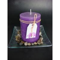 Cheap 3x4 purple pillar candle in glass tray for sale