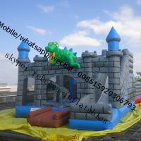 Cheap inflatable bouncy castle with water slide inflatable dinasour castle for sale