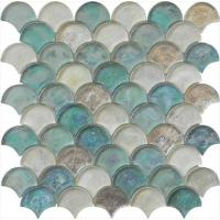 Cheap Light blue green mix water waving glass mosaic for hotel mall wholesale