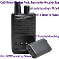 Cheap CW04 Mini Wireless Remote Audio Transmitter Receiver Spy Bug W/ Voice Recording in TF Card for sale