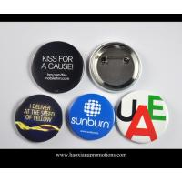 Cheap Custom Full Color Printed Logo Clear Lamination Round Tin Button Badge for sale
