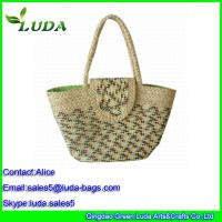 Cheap Luda Manual Straw Beach Bag Natural Woven Corn Husk Straw Bag for sale
