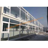 Cheap Foldable Flat Pack Prefab Container House With Glass Facade Decoration For Office Use for sale