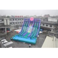 Cheap Cool 5 Lanes Giant Inflatable Water Slide With Big Pool / Adult Inflatable Games for sale