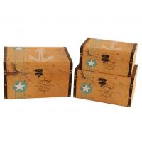 Cheap handmade vintage anchor compass canvas printed wooden storage box Gift Cards Collection Boxes Makeup Organizer for sale